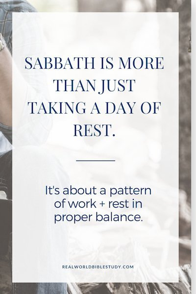 Work + Work + Work + Work + Work + Work + Rest. Sabbath is one of the most important spiritual disciplines, and one of the most neglected in our culture. - https:://www.realworldbiblestudy.com