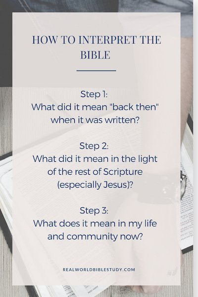 Learn the three critical steps to interpret the Bible for yourself. The Bible was written for YOUR real life; time to start digging! - https://www.realworldbiblestudy.com