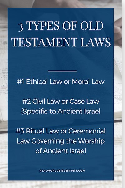 3 Types of Old Testament Laws: ethical or moral law, civil or case law, ritual or ceremonial law. Which ones apply today and what can we learn from them? + Free bookmark! - https://www.realworldbiblestudyc.om