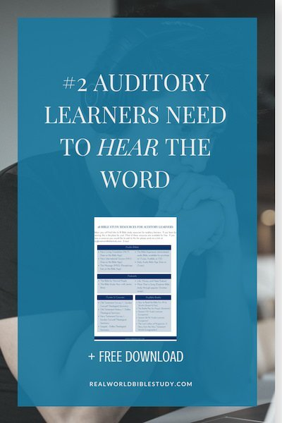 If you're an auditory learner like me, you need to do Bible study in a way that lets you hear the Word. - https://www.realworldbiblestudy.com