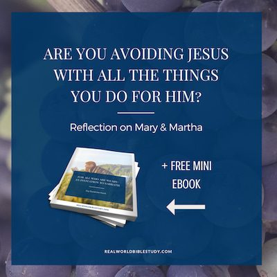 "As much as service is my love language, sometimes it's a shield too. I find myself avoiding spending time with God and instead just doing ""stuff."" Martha's story and free mini-ebook! - https://www.realworldbiblestudy.com"
