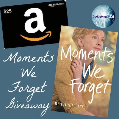 Giveway items for Moments we Forget: a copy of the book and a $25 Amazon gift card