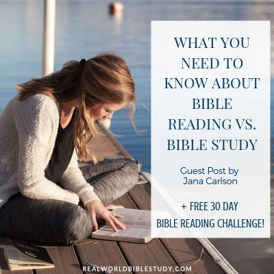 Woman reading her Bible on a dock. What you need to know about Bible Reading Vs. Bible Study, guest post by Jana Carlson. Realworldbiblestudy.com